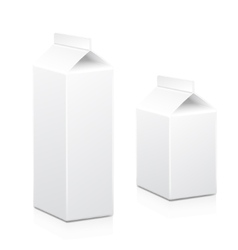 Milk and juice carton box packages blank white vector image