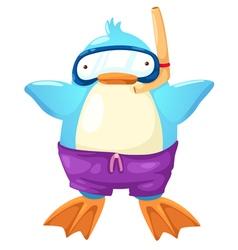 penguin scuba diver vector image