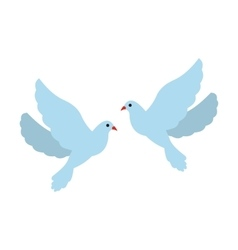 Two doves flat icon vector image vector image