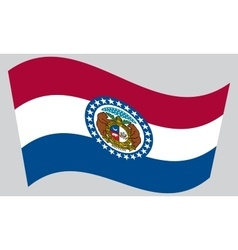 Flag of Missouri waving on gray background vector image vector image