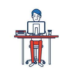 man character sitting working desk computer vector image vector image