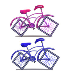 pink and blue bicycle with square wheels vector image