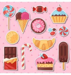 Set of colorful sticker candy sweets and cakes vector image vector image
