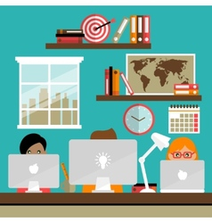 Team works on laptops vector image vector image