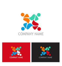 teamwork colorful people logo vector image vector image