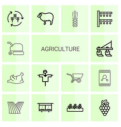 14 agriculture icons vector image