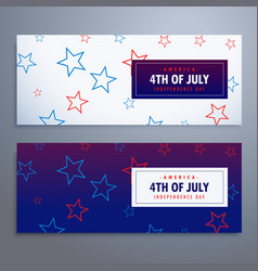 4th july banners set in white and blue colors vector