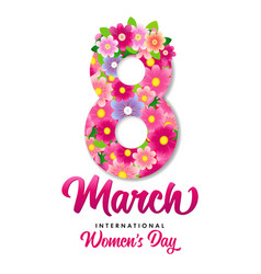 8 march international womens day flowers card vector