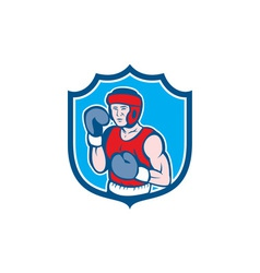 Amateur Boxer Stance Shield Cartoon vector