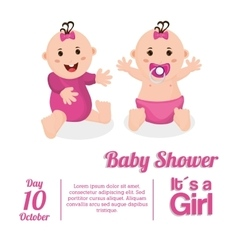 Baby girl of baby shower card design vector
