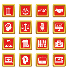 Banking icons set red vector