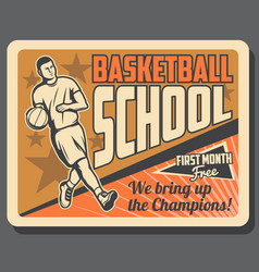 basketball sport player with ball on court vector image