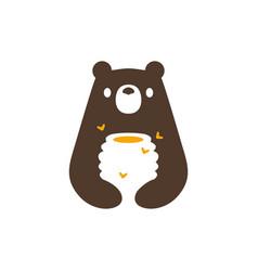 bear honey hive bee negative space logo icon vector image