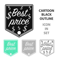best price icon in cartoon style isolated on white vector image