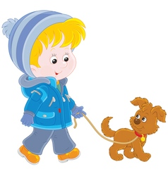 Boy walking with his dog vector