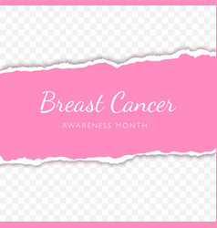 breast cancer lettering on torn paper strip vector image