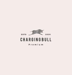 bull logo hipster retro vintage icon vector image
