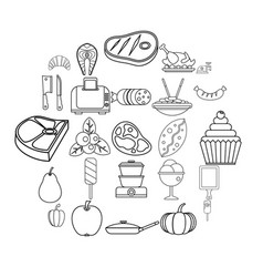 Canteen icons set outline style vector