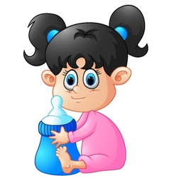 cartoon baby girl holding bootle vector image