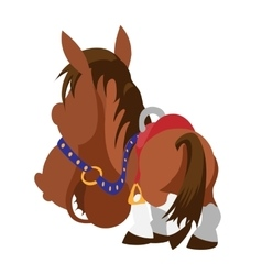 Cartoon brown horse View from horse back vector image