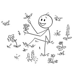 cartoon man sitting between flowers and vector image