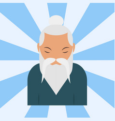 Chinese sensei old man asian elderly portrait vector