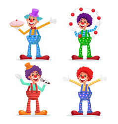 Circus clowns set performance for vector