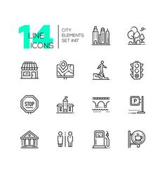 city elements - set line design style icons vector image