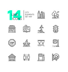 city elements - set of line design style icons vector image