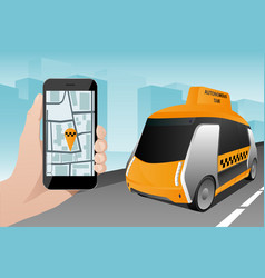 control of autonomous taxi by mobile app vector image