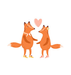 couple cute scandinavian foxes in love heart vector image