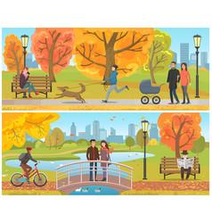 couple standing on bridge autumn park set vector image