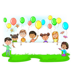 Cute kids holding empty festive banner colored vector