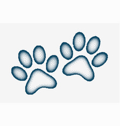 Dog or cat paw prints made with stipple design vector