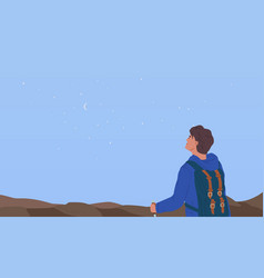 Dreamy hiker contemplating starry breathtaking sky vector