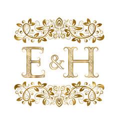 E and h vintage initials logo symbol vector