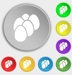 eggs icon sign Symbol on eight flat buttons vector image vector image