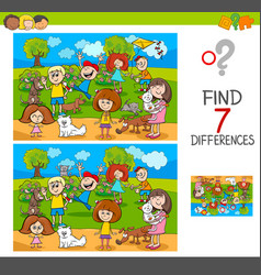 Find differences with kids and pets characters vector