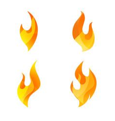 fire logo icon set of four conceptual flame vector image