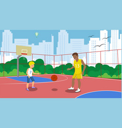 flat basketball court dad and son play vector image