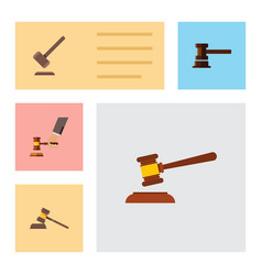 flat icon lawyer set of government building court vector image