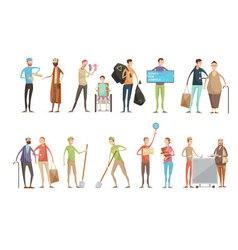 Flat Volunteer Characters Set vector