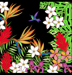 floral paradise hand drawn summer tropical vector image