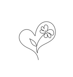 flower inside heart symbol love care and vector image
