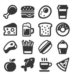 food icon set on white background vector image