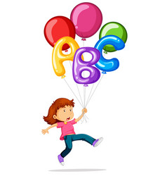 Girl flying with colorful balloons vector