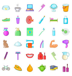Glimmer icons set cartoon style vector