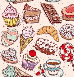 Hand drawn confectionery seamless pattern vector image