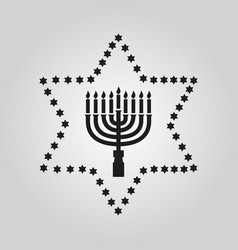 Hanukkah david star jewish holiday symbol flat vector