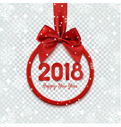 Happy new year 2018 design round banner with red vector